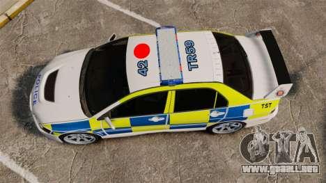 Mitsubishi Lancer Evolution IX Uk Police [ELS] para GTA 4 visión correcta