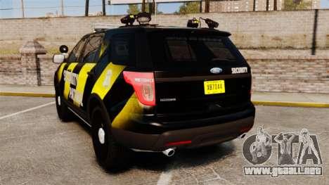 Ford Explorer 2013 Security Patrol [ELS] para GTA 4 Vista posterior izquierda