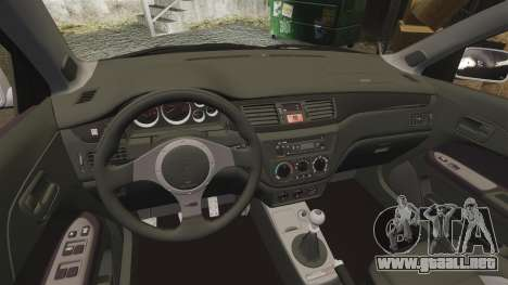 Mitsubishi Lancer Evolution IX Uk Police [ELS] para GTA 4 vista interior