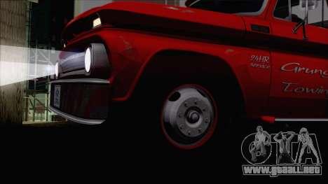 Chevrolet C20 Towtruck 1966 1.01 para la visión correcta GTA San Andreas
