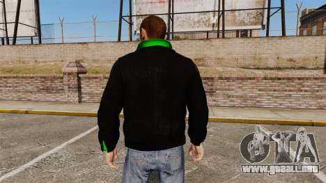 Chaqueta negra con un verde olímpico para GTA 4 segundos de pantalla