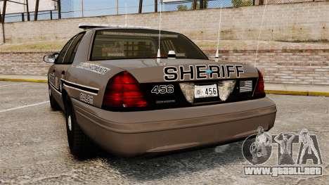 Ford Crown Victoria 2008 Sheriff Patrol [ELS] para GTA 4 Vista posterior izquierda