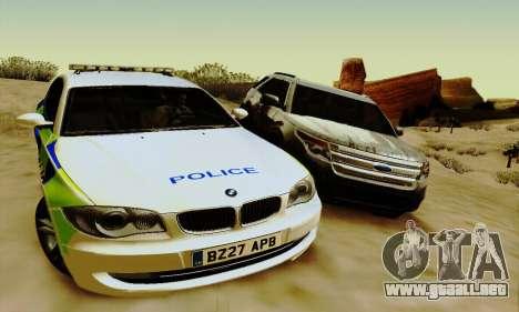 BMW 120i SE Police para la visión correcta GTA San Andreas