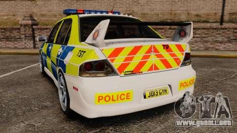 Mitsubishi Lancer Evolution IX Uk Police [ELS] para GTA 4 Vista posterior izquierda