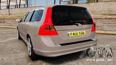 Volvo V70 Unmarked Police [ELS] para GTA 4 Vista posterior izquierda
