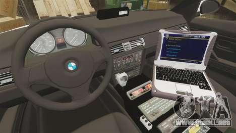 BMW 330i Ambulance [ELS] para GTA 4 vista hacia atrás
