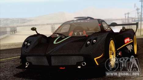 Pagani Zonda R SPS v3.0 Final para GTA San Andreas vista hacia atrás
