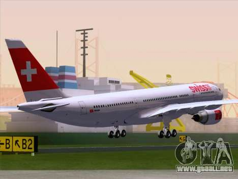 Airbus A330-223 Swiss International Airlines para GTA San Andreas vista posterior izquierda