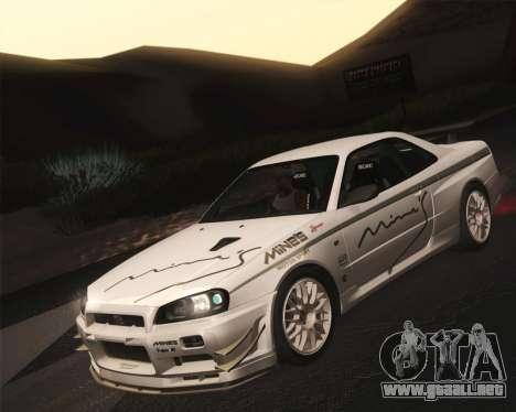 Nissan Skyline Mines R34 2002 para la visión correcta GTA San Andreas