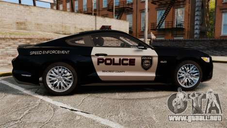 Ford Mustang GT 2015 Police para GTA 4 left