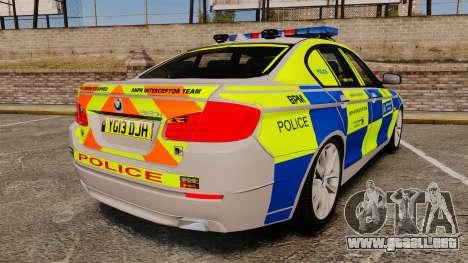 BMW 550i Metropolitan Police [ELS] para GTA 4 Vista posterior izquierda