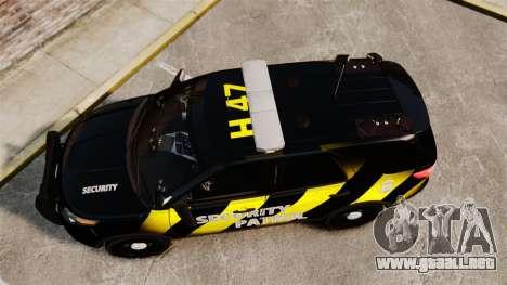 Ford Explorer 2013 Security Patrol [ELS] para GTA 4 visión correcta