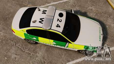 BMW 330i Ambulance [ELS] para GTA 4 visión correcta