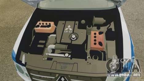 Mitsubishi Pajero Finnish Police [ELS] para GTA 4 vista hacia atrás