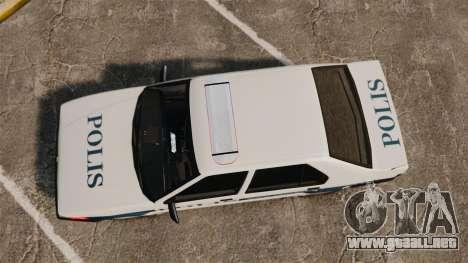 Renault 19 Turkish Police para GTA 4 visión correcta