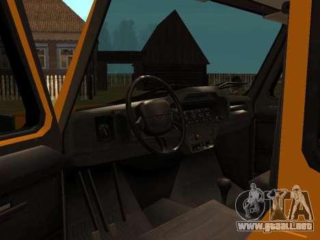 UAZ-3159 bares para GTA San Andreas vista hacia atrás