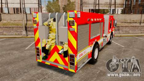 Division on Fire Columbus Firetruck [ELS] para GTA 4 Vista posterior izquierda