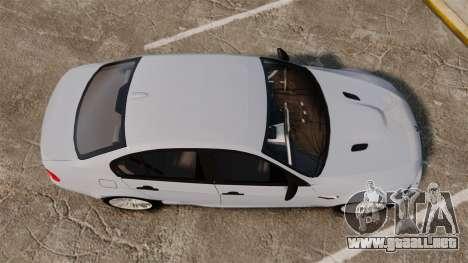 BMW M3 Unmarked Police [ELS] para GTA 4 visión correcta