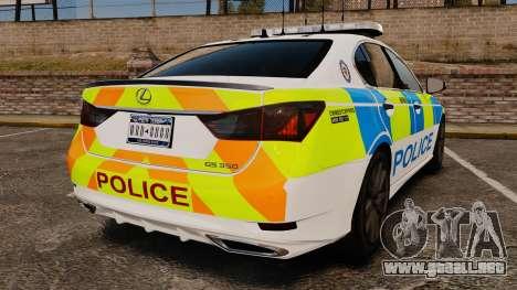 Lexus GS350 West Midlands Police [ELS] para GTA 4 Vista posterior izquierda