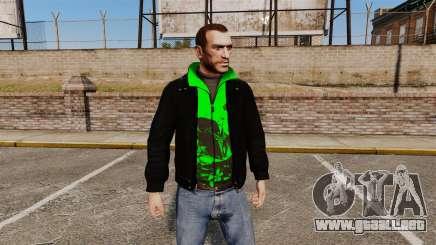 Chaqueta negra con un verde olímpico para GTA 4
