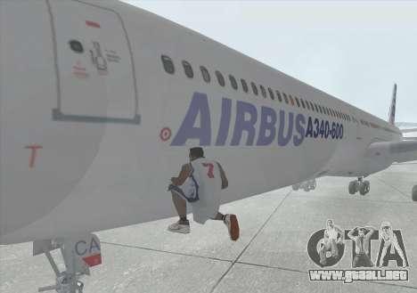 El Airbus A340-600 para visión interna GTA San Andreas