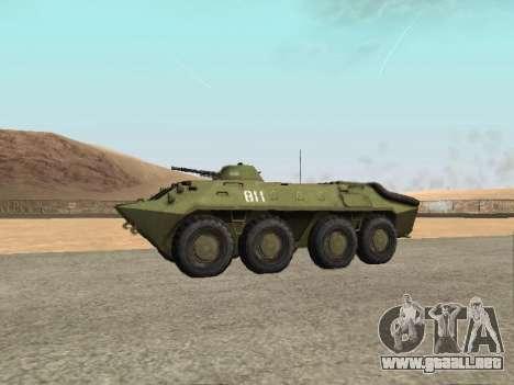 BTR-70 para GTA San Andreas vista posterior izquierda