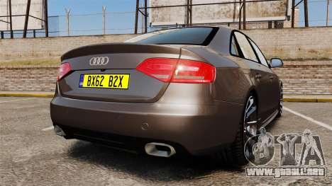 Audi S4 2013 Unmarked Police [ELS] para GTA 4 Vista posterior izquierda