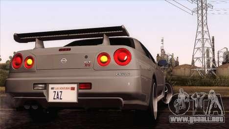 Nissan Skyline GT-R R34 V-Spec Lexani Rims para GTA San Andreas vista posterior izquierda