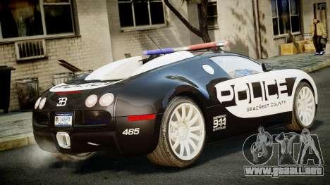 Bugatti Veyron 16.4 Police NFS Hot Pursuit para GTA 4 left