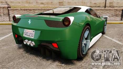 Ferrari 458 Italia para GTA 4 Vista posterior izquierda