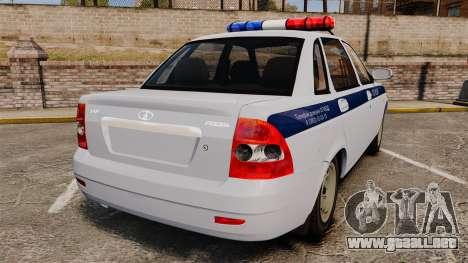 VAZ-2170 de Policía para GTA 4 Vista posterior izquierda