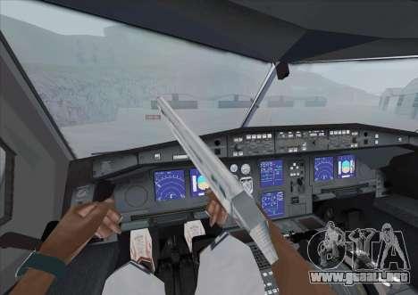 El Airbus A340-600 para GTA San Andreas vista hacia atrás