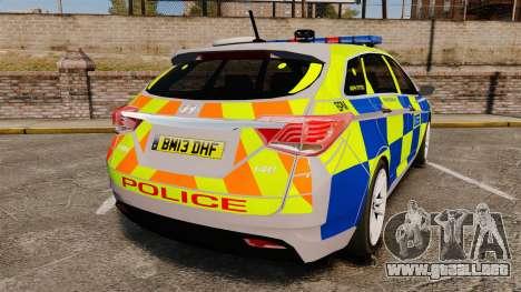 Hyundai i40 2013 Metropolitan Police [ELS] para GTA 4 Vista posterior izquierda