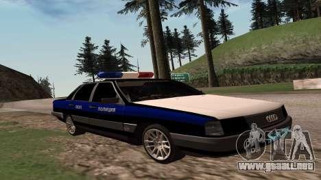 Audi 100, la Policía ОБЭП para GTA San Andreas vista posterior izquierda