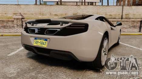 McLaren MP4-12C 2012 [EPM] para GTA 4 Vista posterior izquierda