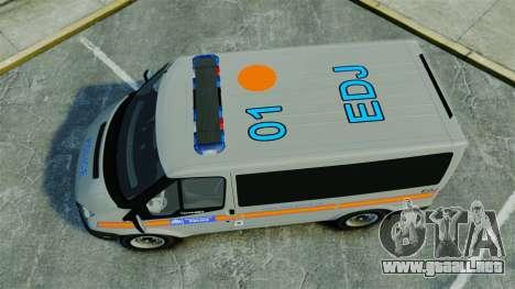 Ford Transit Metropolitan Police [ELS] para GTA 4 visión correcta