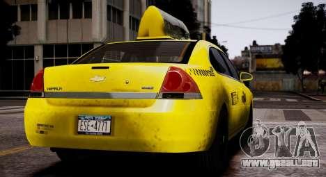 Chevrolet Impala 2006 Такси para GTA 4 visión correcta