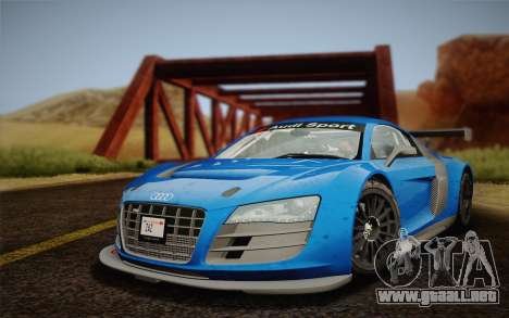Audi R8 LMS v2.0.4 DR para GTA San Andreas vista posterior izquierda