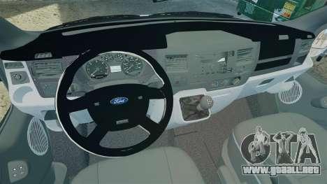 Ford Transit Metropolitan Police [ELS] para GTA 4 vista hacia atrás