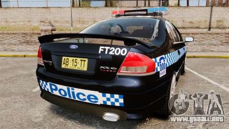 Ford BF Falcon XR6 Turbo Police [ELS] para GTA 4 Vista posterior izquierda