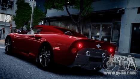 Spyker C8 Aileron Spyder v2.0 para GTA 4 vista hacia atrás