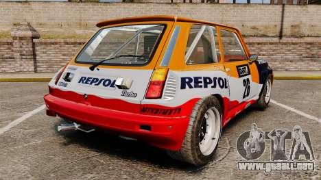 Renault 5 Maxi Turbo para GTA 4 Vista posterior izquierda