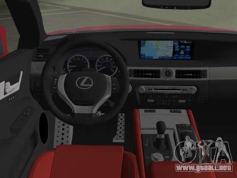 Lexus GS350 F Sport 2013 para GTA Vice City vista desde abajo