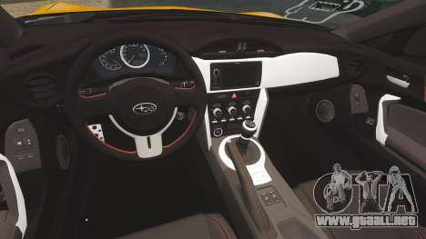 Subaru BRZ 2013 para GTA 4 vista interior