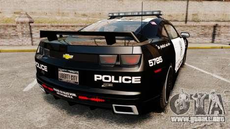Chevrolet Camaro Police [ELS-EPM] para GTA 4 Vista posterior izquierda