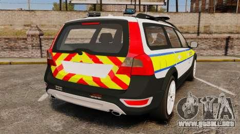 Volvo XC70 Emergency Response Unit [ELS] para GTA 4 Vista posterior izquierda