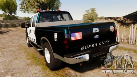 Ford F-250 Super Duty Police [ELS] para GTA 4 Vista posterior izquierda