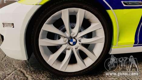 BMW 530d Touring Lancashire Police [ELS] para GTA 4 vista hacia atrás