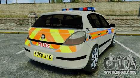 Vauxhall Astra Metropolitan Police [ELS] para GTA 4 Vista posterior izquierda