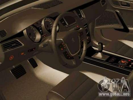 Peugeot 508 2011 v2 para GTA San Andreas vista hacia atrás